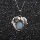 sweater chain stainless steel angel wings round bead pendant necklace  NHYL264066