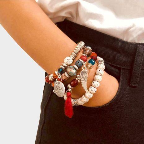Ensemble de bracelet de style bohème perlé d'amour en pierre naturelle NHCT264069's discount tags