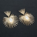bohemian style retro alloy sunflower inlaid pearl women earrings  NHCT264071