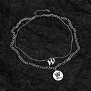 wholesale allmatch letter W doublelayer ladies titanium steel necklace NHOP264090
