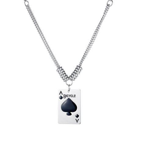Tarjeta retro coreana colgante cadena de clavícula moda titanio acero corazón dama collar NHOP264097's discount tags