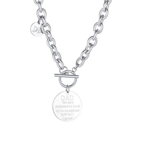 hebilla cadena de clavícula joyería popular disco letras señoras collar de acero de titanio al por mayor NHOP264098's discount tags