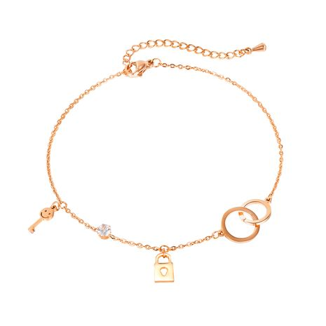 Korea sweet smiley face diamond ladies key lock titanium steel anklet wholesale NHOP264101's discount tags