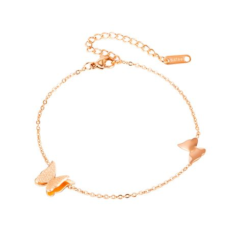 wholesale Korean titanium steel rose gold butterfly all-match anklet NHOP264107's discount tags