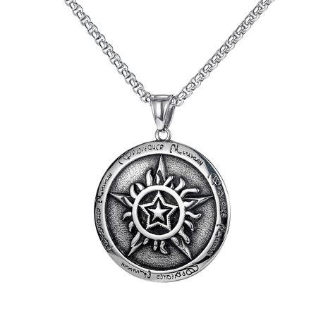 Korean popular hip-hop five-pointed star pendant men's titanium steel nightclub street necklace wholesale NHOP264110's discount tags