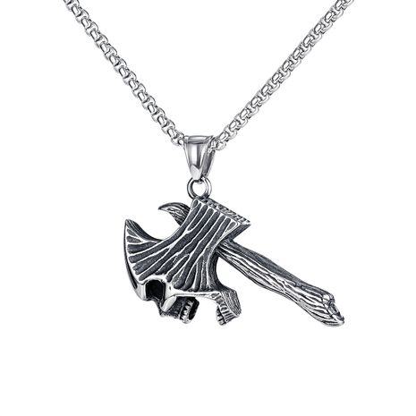 trendy men all-match skull tomahawk pendant hip hop titanium steel axe necklace NHOP264111's discount tags