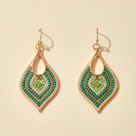 Pendientes de diamantes huecos con cuentas de arroz elegantes con factura nueva NHGY264602's discount tags