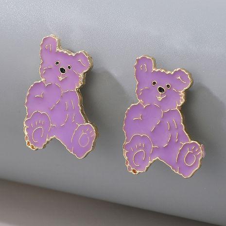 nouvelle mode mignonne boucles d'oreilles ours de dessin animé violet pour les femmes NHGY264606's discount tags