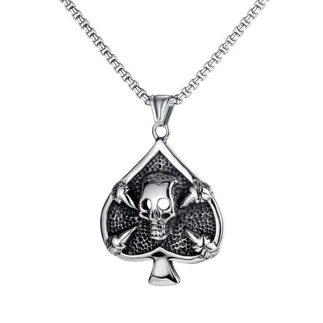 hot selling retro playing cards spades skull men's titanium steel necklace  NHOP264114's discount tags