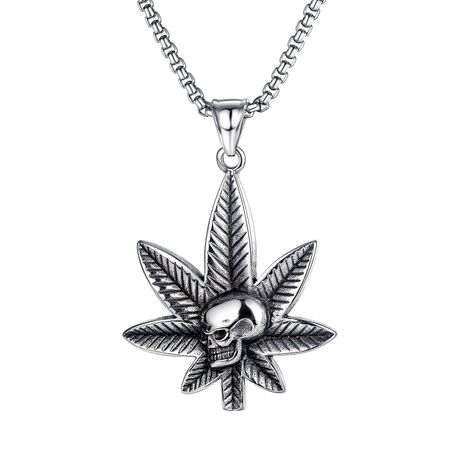 all-match maple leaf skull pendant trendy men's hip-hop street titanium steel necklace NHOP264115's discount tags