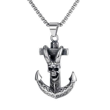 hot-selling new retro anchor claw skull cross titanium steel men's necklace jewelry wholesale NHOP264117's discount tags