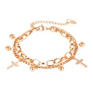 Mode Titan Stahl Doppelschicht Damen Kreuz runde Perle Anhnger Armband Grohandel NHOP264122