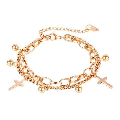 Mode Titan Stahl Doppelschicht Damen Kreuz runde Perle Anhänger Armband Großhandel NHOP264122's discount tags