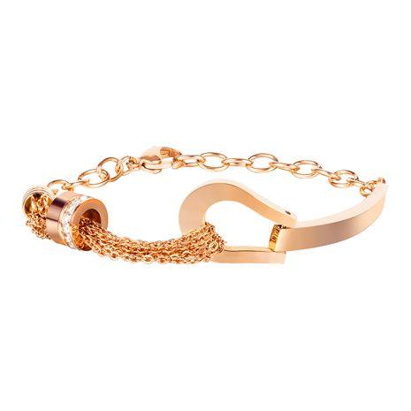 Bracelet diamant cylindrique en acier au titane en or rose à la mode all-match niche pour femme NHOP264128's discount tags
