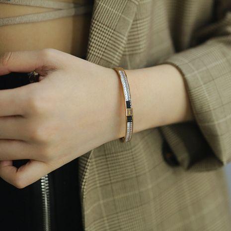 Corée simple bracelet en acier titane or rose plaqué diamant LOVE bijoux à la main NHOP264135's discount tags