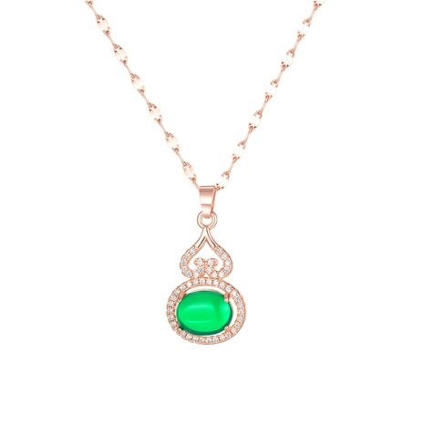 Korean popular cute diamond-studded gourd jewelry necklace wholesale NHOP264142's discount tags