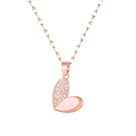 hot-selling Korean simple heart diamond ladies all-matching necklace  NHOP264144's discount tags