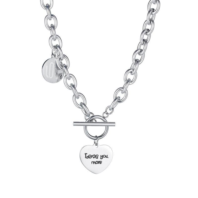 Moda coreana hebilla de todo fsforo amor ronda marca dama collar de acero de titanio joyera NHOP264163
