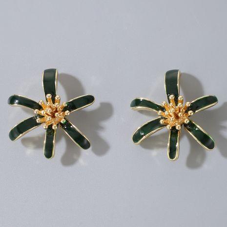 S925 Silber Nadel Nische Aura dunkelgrün weiß Tropfglasur Blumen einfache Ohrringe NHGY264598's discount tags
