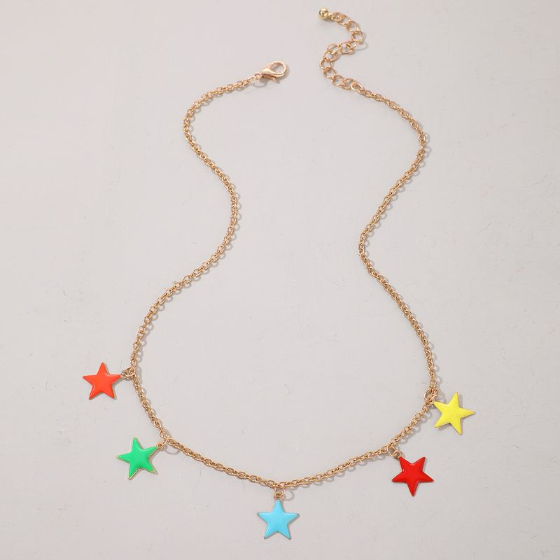 Fashion Korean simple trend fivepointed star clavicle star wild necklace NHGY264591