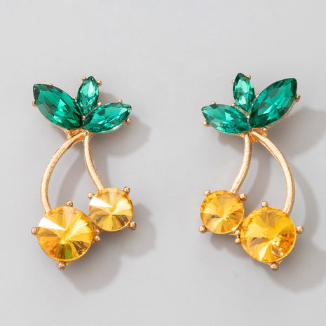 Pendientes de artesanía de mosaico de diamantes de imitación simple de cereza nueva venta caliente NHGY264590's discount tags