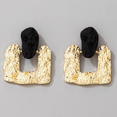 Mode neue übertriebene unregelmäßige quadratische grüne Legierung, die Retro geprägte gefrostete Ohrringe überzieht NHGY264582's discount tags
