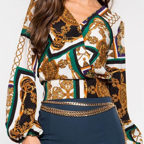 Autumn women's fashion V-neck printed long-sleeved short shirt NHEK264615's discount tags