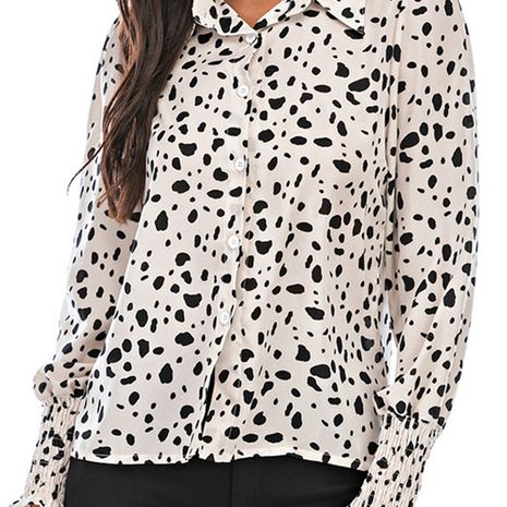 Ladies Autumn Fashion Lapel Printed Long Sleeve All-match Shirt NHEK264611's discount tags