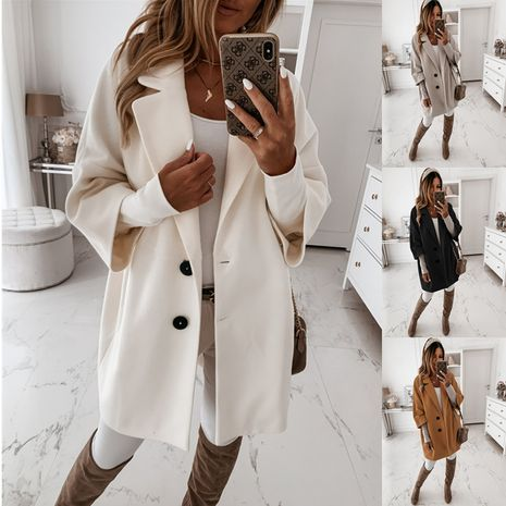autumn and winter three-quarter sleeve button lapel pocket woolen jacket NHWA264694's discount tags