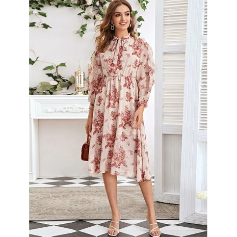 Spring new style chiffon large floral lining neckline long-sleeved elegant dress NHJG264561's discount tags