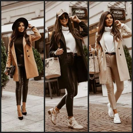 autumn and winter solid color lapel mid-length button woolen coat jacket women NHWA264693's discount tags