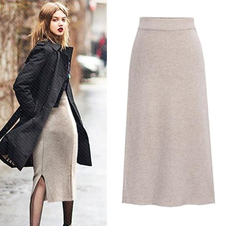 Autumn and winter new fashion large size solid color split bag hip mid-length skirt NHEK264560's discount tags