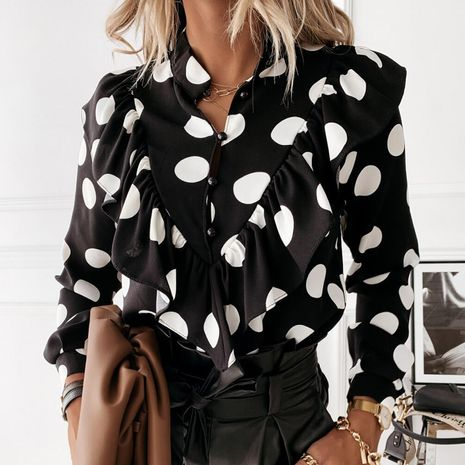 women's long-sleeved ruffled V-neck button shirt  NHWA264691's discount tags