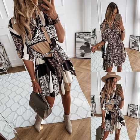 autumn and winter new long-sleeved fashion sexy printed shirt dress NHWA264690's discount tags