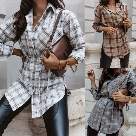 autumn and winter new long-sleeved long A-line fashion plaid dress NHWA264689's discount tags