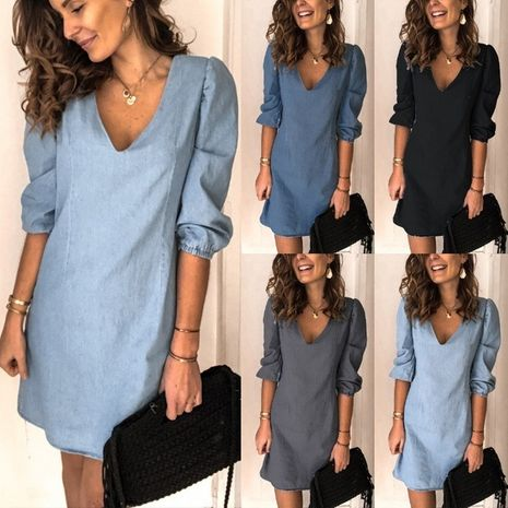 autumn deep V-neck sexy solid color all-match casual dress NHWA264688's discount tags