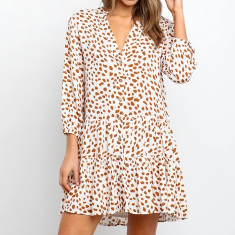 Spring and summer women's fashion waist V-neck sexy print short dress NHEK264545's discount tags