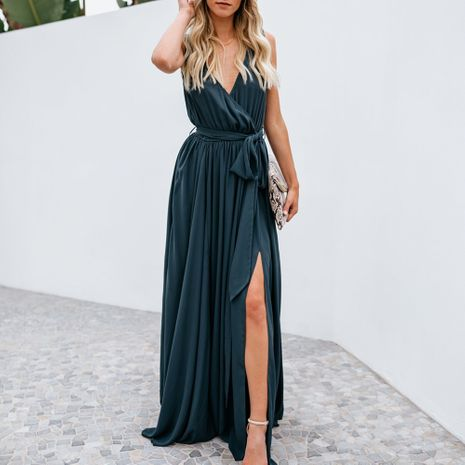 Summer fashion solid color V-neck sleeveless mid-waist sexy long dress NHEK264543's discount tags