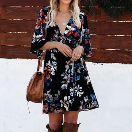 Women's New Fashion V-neck Sexy Printed 3/4 Sleeve High Waist Dress NHEK264533's discount tags