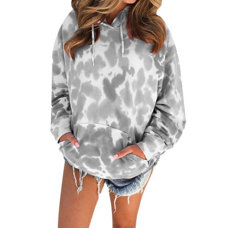 Autumn and winter new style tie-dye printed hoodie jacket casual long-sleeved sweater women NHIS264528's discount tags