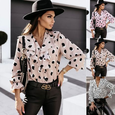 V-neck ruffled button long-sleeved printed shirt top NHJC264529's discount tags