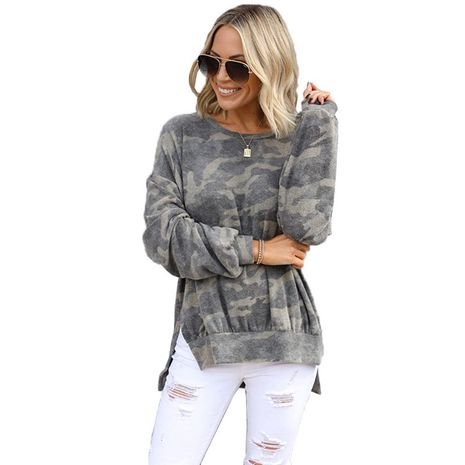 new style printed round neck cotton blouse pullover trendy camouflage women's sweater women NHIS264530's discount tags