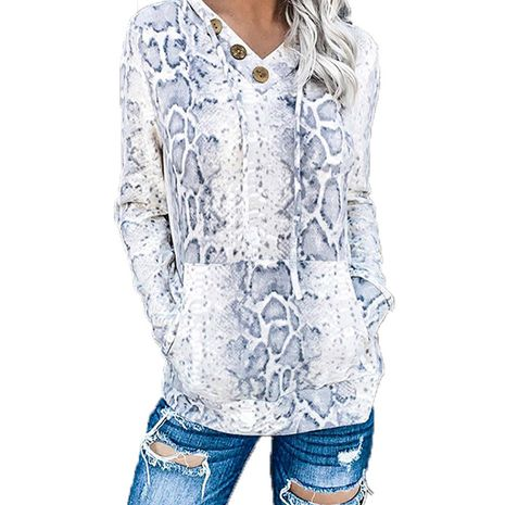 Printed pullover V-neck long-sleeved hooded sweater blouse NHIS264526's discount tags