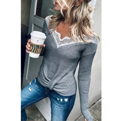 Autumn and winter new lace stitching blouse hem twisted long-sleeved sweater women NHIS264522's discount tags