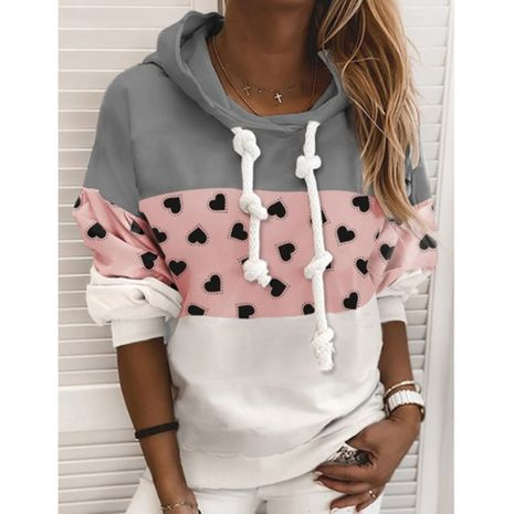 Autumn and winter new fashion hooded stitching printed sweater NHJG264523's discount tags