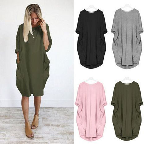 Ladies autumn new casual loose solid color dress NHJC264525's discount tags