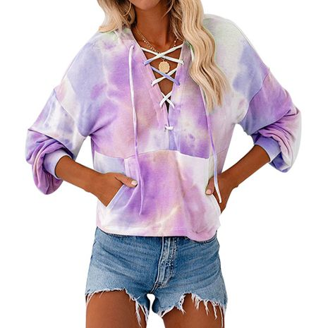 New style tie-dye printed long-sleeved hoodie for fall/winter lace-up drawstring sweater blouse NHIS264518's discount tags