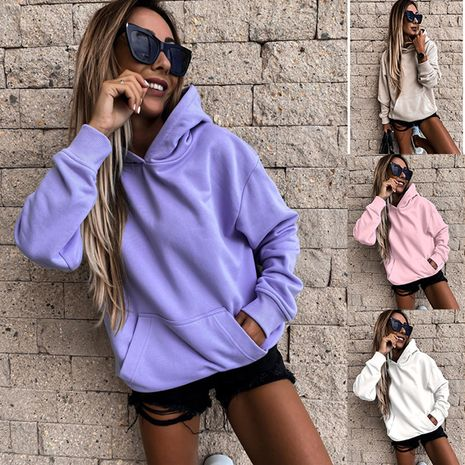 Fall/winter new style long-sleeved solid color pullover hooded sweater top women's clothing NHIS264519's discount tags