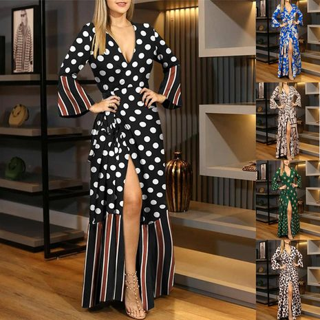 Autumn and winter new style long-sleeved tie V-neck print dress long skirt women NHIS264502's discount tags