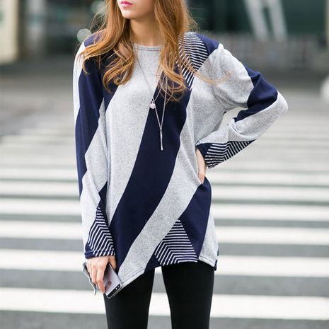 New autumn loose geometric long-sleeved T-shirt NHJC264499's discount tags